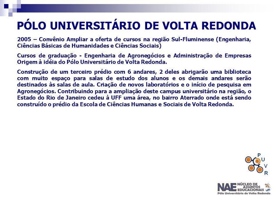 PÓLO UNIVERSITÁRIO DE VOLTA REDONDA 2005 – Convênio Ampliar a oferta de cursos na região Sul-Fluminense (Engenharia, Ciências Básicas de Humanidades e