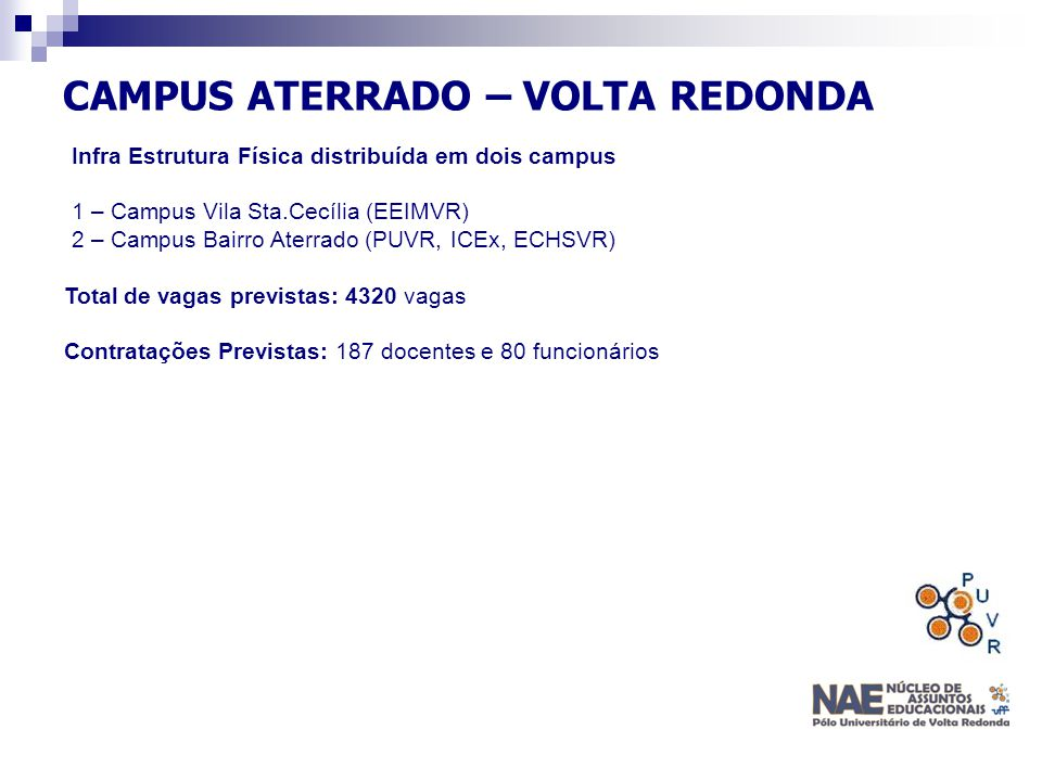 CAMPUS ATERRADO – VOLTA REDONDA Infra Estrutura Física distribuída em dois campus 1 – Campus Vila Sta.Cecília (EEIMVR) 2 – Campus Bairro Aterrado (PUV