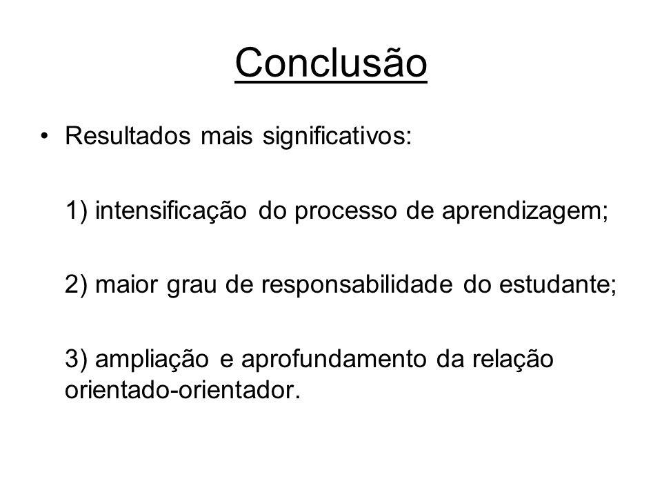 Conclusão Resultados mais significativos: 1) intensificação do processo de aprendizagem; 2) maior grau de responsabilidade do estudante; 3) ampliação e aprofundamento da relação orientado-orientador.