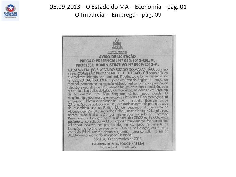 05.09.2013 – O Estado do MA – Economia – pag. 01 O Imparcial – Emprego – pag. 09