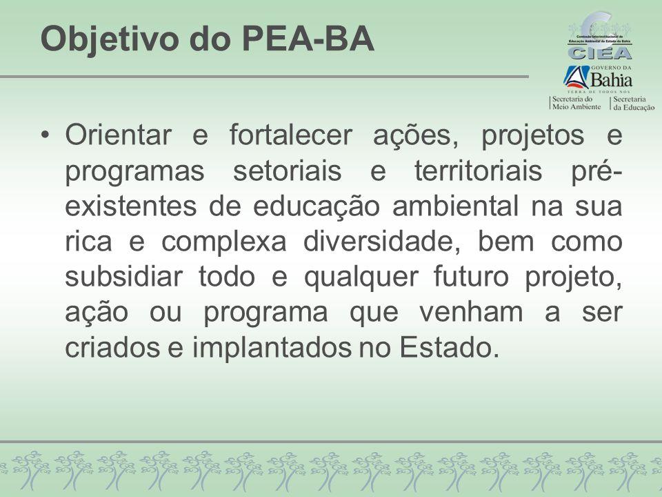 Objetivo do PEA-BA Orientar e fortalecer ações, projetos e programas setoriais e territoriais pré- existentes de educação ambiental na sua rica e comp