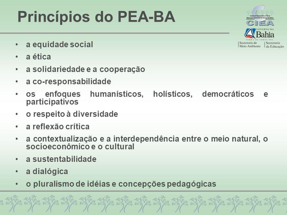 Princípios do PEA-BA a equidade social a ética a solidariedade e a cooperação a co-responsabilidade os enfoques humanísticos, holísticos, democráticos e participativos o respeito à diversidade a reflexão crítica a contextualização e a interdependência entre o meio natural, o socioeconômico e o cultural a sustentabilidade a dialógica o pluralismo de idéias e concepções pedagógicas