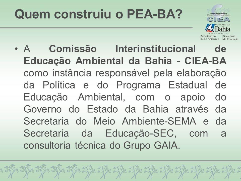 Construção do PEA-BA 26 Seminários de Consulta Pública do PLEA-BA Encontros da CIEA-BA Junho 2009 a Março 2010 Comunicação Transversalização Avaliação PEA-BA Estruturação do PEA-BA Áreas de Atuação e Estratégias de Educação Ambiental Demandas de Educação Ambiental dos Territórios de Identidade