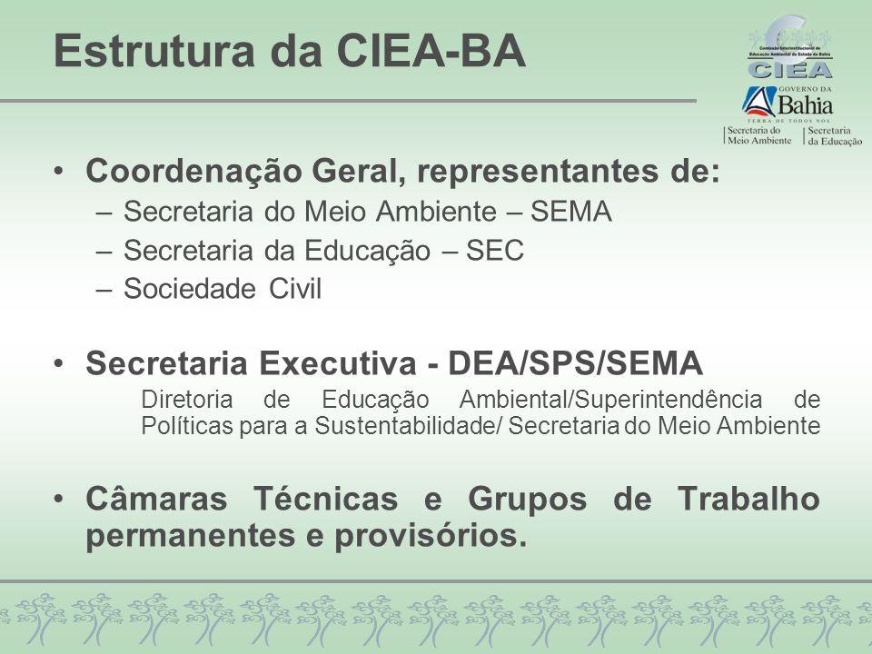Estrutura da CIEA-BA Coordenação Geral, representantes de: –Secretaria do Meio Ambiente – SEMA –Secretaria da Educação – SEC –Sociedade Civil Secretaria Executiva - DEA/SPS/SEMA Diretoria de Educação Ambiental/Superintendência de Políticas para a Sustentabilidade/ Secretaria do Meio Ambiente Câmaras Técnicas e Grupos de Trabalho permanentes e provisórios.
