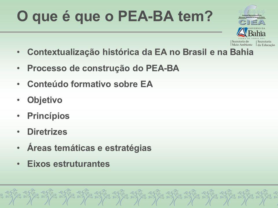 O que é que o PEA-BA tem? Contextualização histórica da EA no Brasil e na Bahia Processo de construção do PEA-BA Conteúdo formativo sobre EA Objetivo