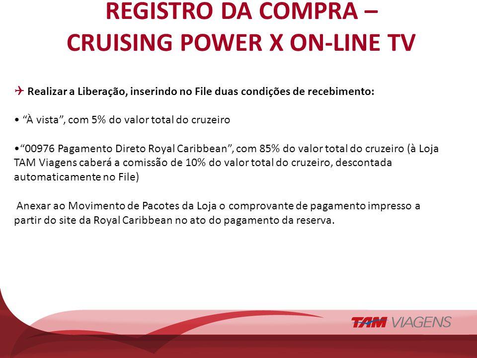 REGISTRO DA COMPRA – CRUISING POWER X ON-LINE TV Realizar a Liberação, inserindo no File duas condições de recebimento: À vista, com 5% do valor total