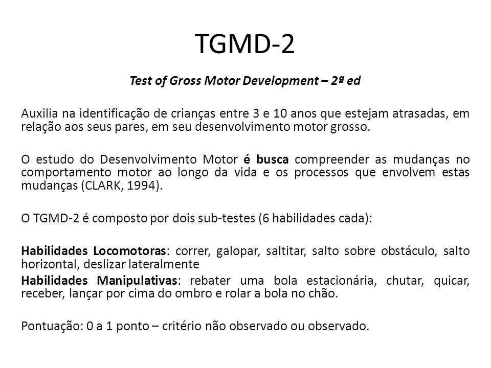 TGMD-2 Test of Gross Motor Development – 2ª ed Auxilia na identificação de crianças entre 3 e 10 anos que estejam atrasadas, em relação aos seus pares