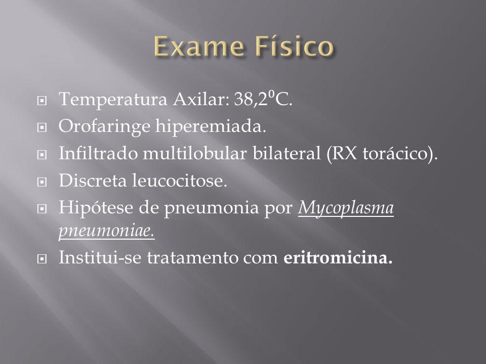 Temperatura Axilar: 38,2 C.Orofaringe hiperemiada.