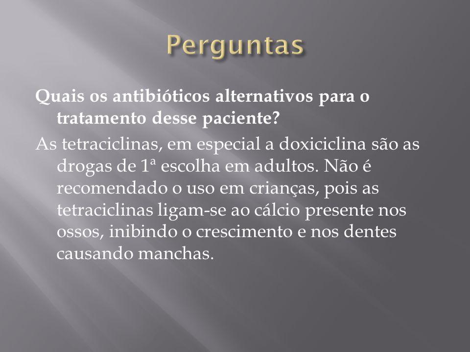 Quais os antibióticos alternativos para o tratamento desse paciente.