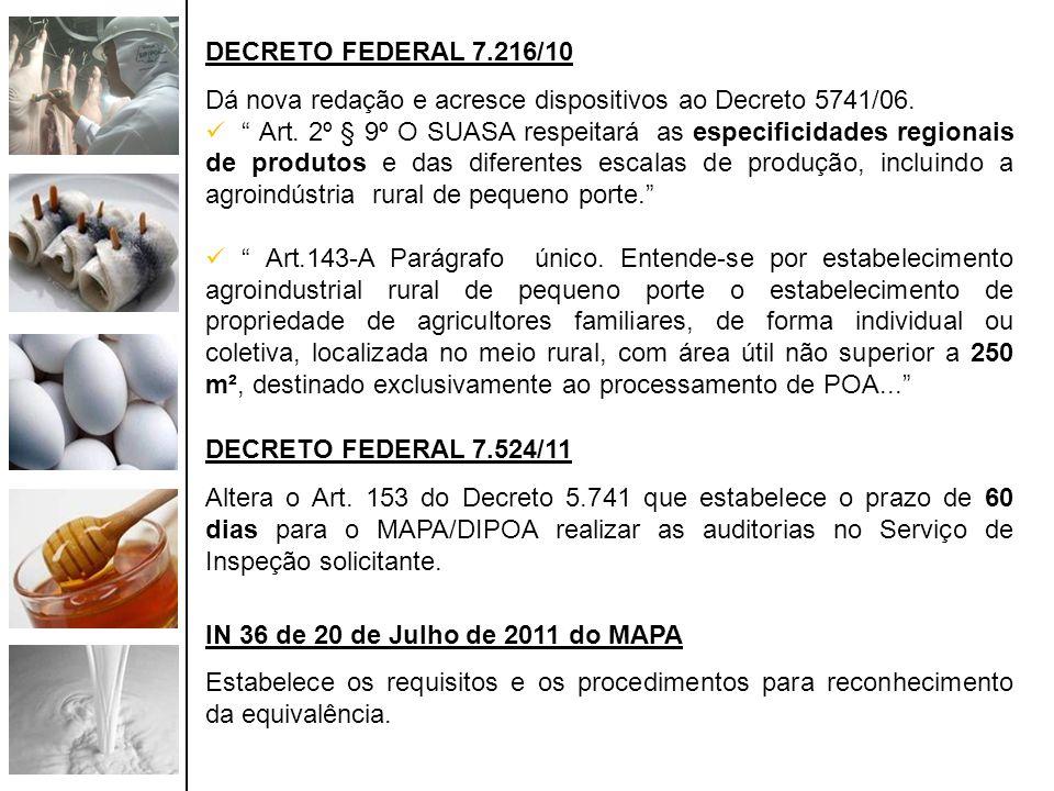 DECRETO FEDERAL 7.216/10 Dá nova redação e acresce dispositivos ao Decreto 5741/06. Art. 2º § 9º O SUASA respeitará as especificidades regionais de pr