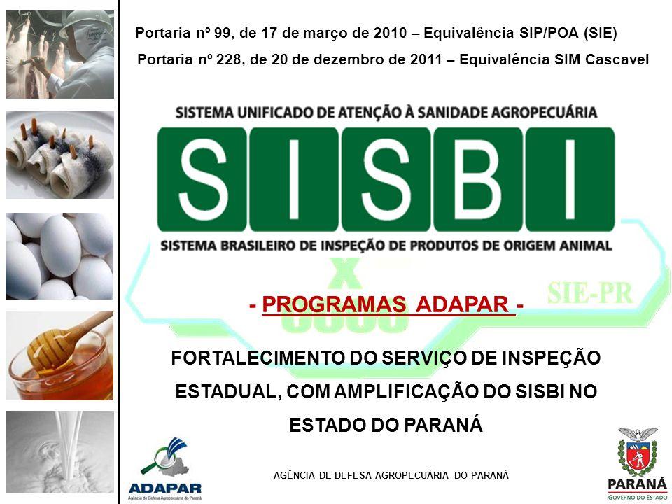 AGÊNCIA DE DEFESA AGROPECUÁRIA DO PARANÁ - PROGRAMAS ADAPAR - FORTALECIMENTO DO SERVIÇO DE INSPEÇÃO ESTADUAL, COM AMPLIFICAÇÃO DO SISBI NO ESTADO DO P