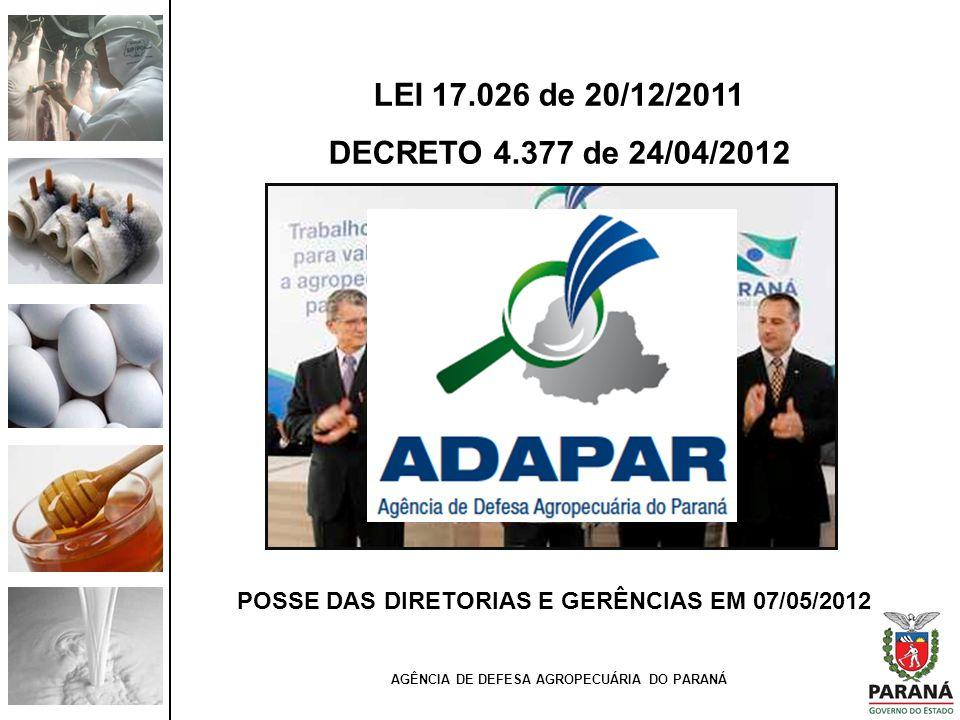 LEI 17.026 de 20/12/2011 DECRETO 4.377 de 24/04/2012 AGÊNCIA DE DEFESA AGROPECUÁRIA DO PARANÁ POSSE DAS DIRETORIAS E GERÊNCIAS EM 07/05/2012