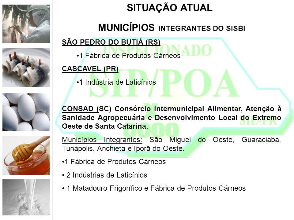 SITUAÇÃO ATUAL MUNICÍPIOS INTEGRANTES DO SISBI SÃO PEDRO DO BUTIÁ (RS) 1 Fábrica de Produtos Cárneos CASCAVEL (PR) 1 Indústria de Laticínios CONSAD (S