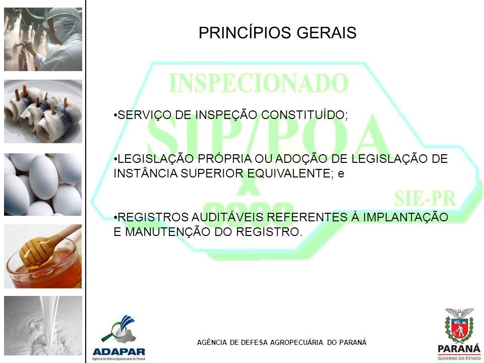 PRINCÍPIOS GERAIS SERVIÇO DE INSPEÇÃO CONSTITUÍDO; LEGISLAÇÃO PRÓPRIA OU ADOÇÃO DE LEGISLAÇÃO DE INSTÂNCIA SUPERIOR EQUIVALENTE; e REGISTROS AUDITÁVEI