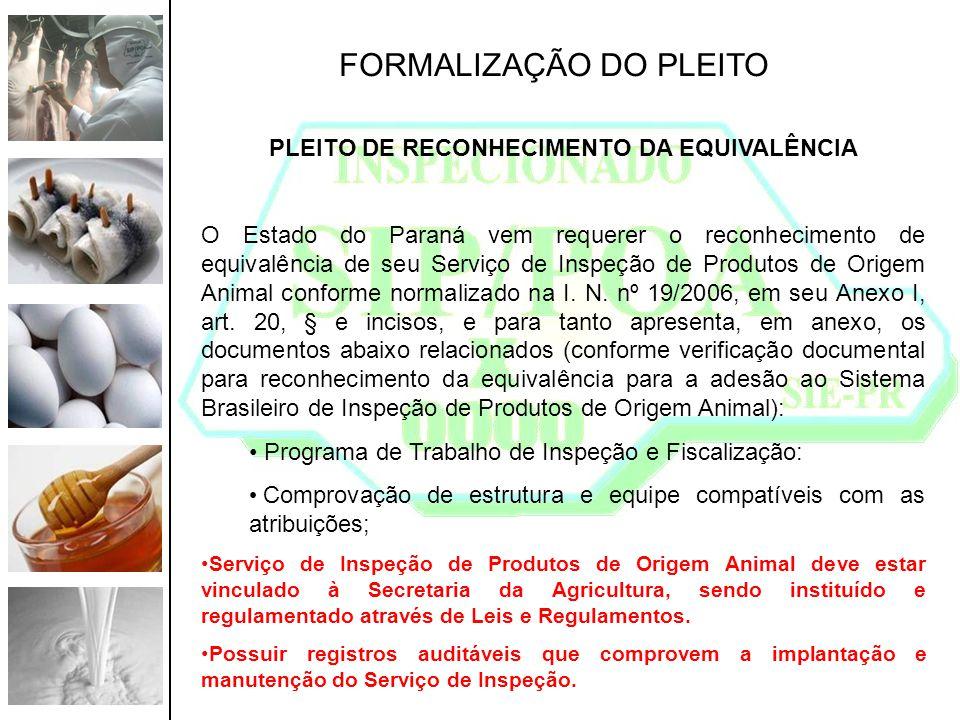 FORMALIZAÇÃO DO PLEITO PLEITO DE RECONHECIMENTO DA EQUIVALÊNCIA O Estado do Paraná vem requerer o reconhecimento de equivalência de seu Serviço de Ins