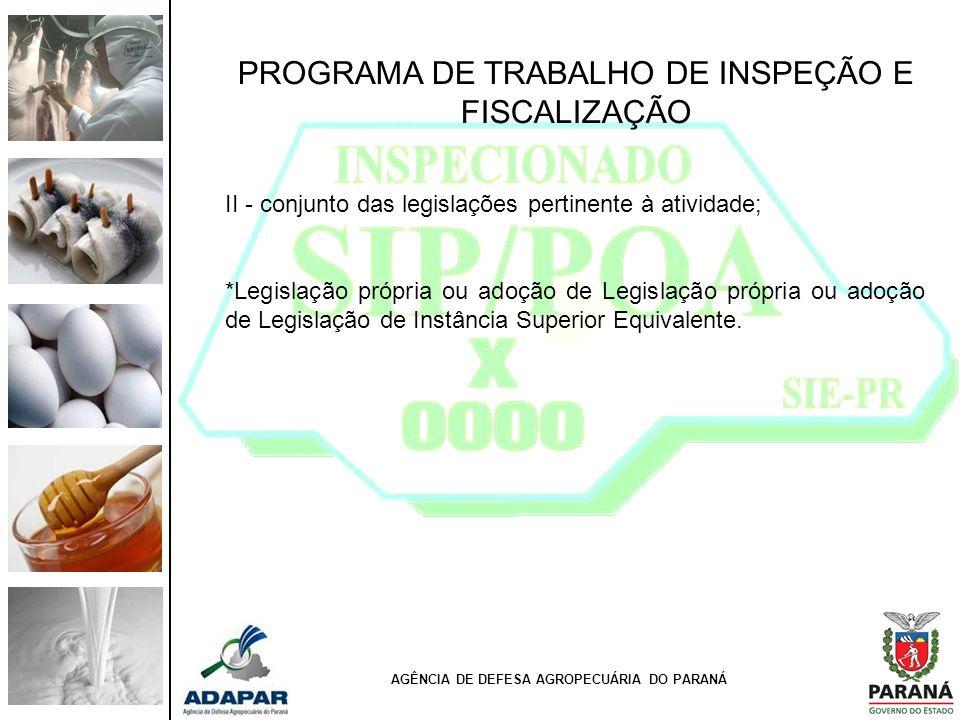 PROGRAMA DE TRABALHO DE INSPEÇÃO E FISCALIZAÇÃO II - conjunto das legislações pertinente à atividade; *Legislação própria ou adoção de Legislação próp