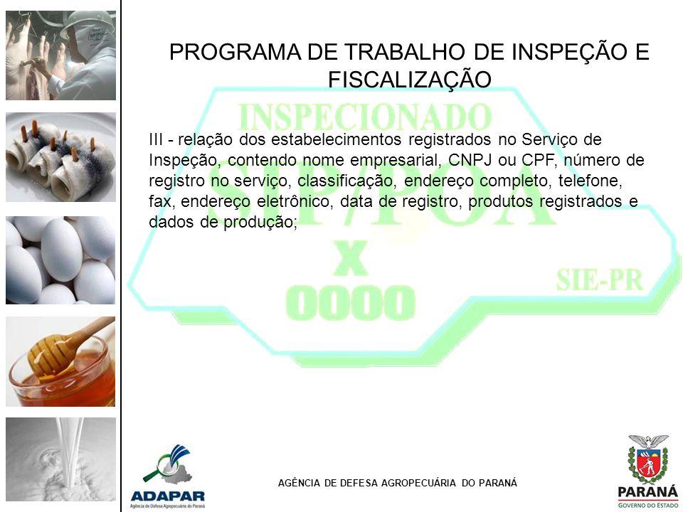 PROGRAMA DE TRABALHO DE INSPEÇÃO E FISCALIZAÇÃO III - relação dos estabelecimentos registrados no Serviço de Inspeção, contendo nome empresarial, CNPJ