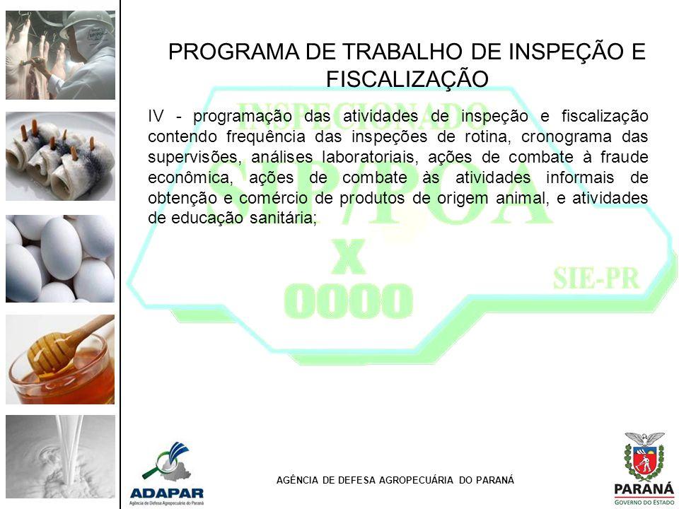 PROGRAMA DE TRABALHO DE INSPEÇÃO E FISCALIZAÇÃO IV - programação das atividades de inspeção e fiscalização contendo frequência das inspeções de rotina