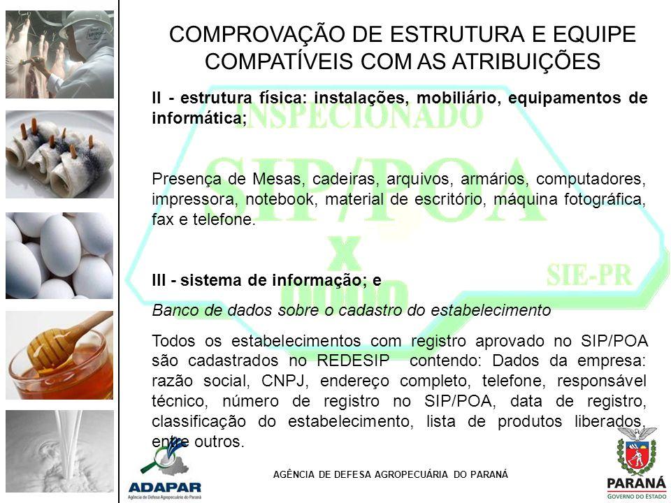 AGÊNCIA DE DEFESA AGROPECUÁRIA DO PARANÁ COMPROVAÇÃO DE ESTRUTURA E EQUIPE COMPATÍVEIS COM AS ATRIBUIÇÕES II - estrutura física: instalações, mobiliár