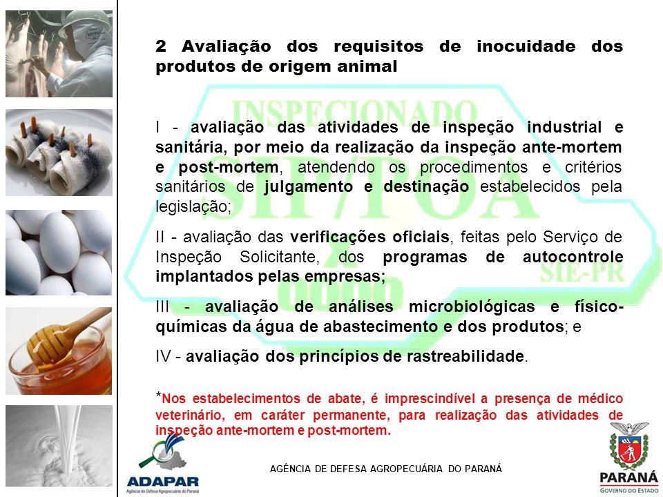 2 Avaliação dos requisitos de inocuidade dos produtos de origem animal I - avaliação das atividades de inspeção industrial e sanitária, por meio da re