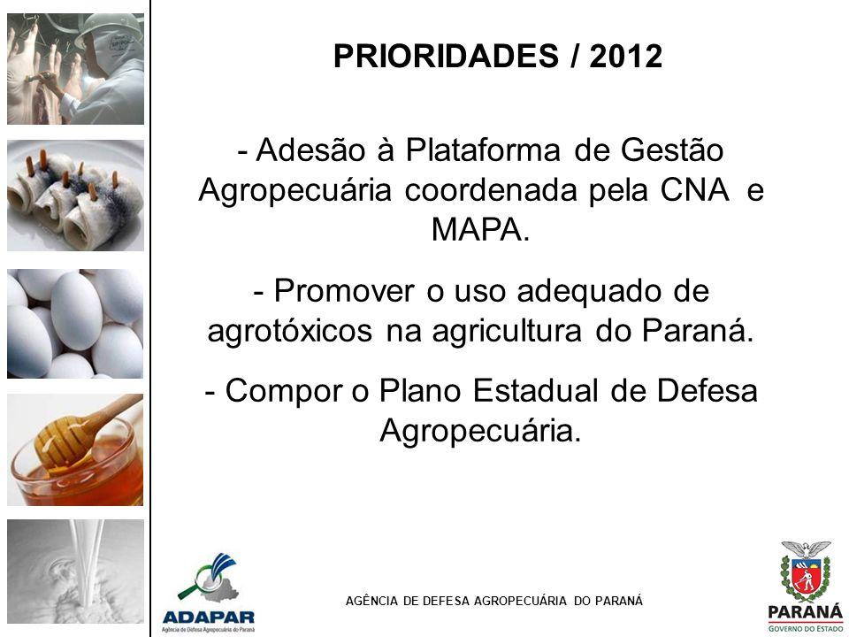 AGÊNCIA DE DEFESA AGROPECUÁRIA DO PARANÁ - Adesão à Plataforma de Gestão Agropecuária coordenada pela CNA e MAPA. - Promover o uso adequado de agrotóx