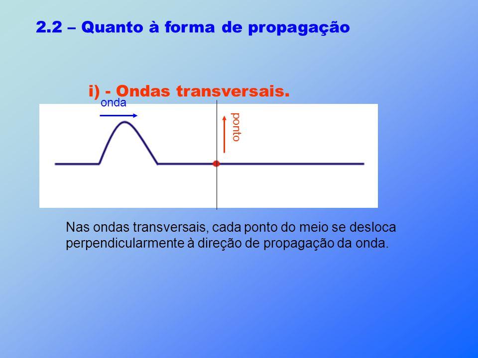 2.2 – Quanto à forma de propagação i) - Ondas transversais. Nas ondas transversais, cada ponto do meio se desloca perpendicularmente à direção de prop