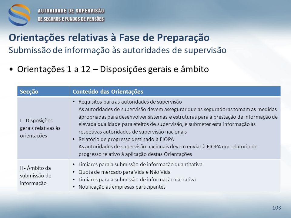 Orientações relativas à Fase de Preparação Submissão de informação às autoridades de supervisão Orientações 1 a 12 – Disposições gerais e âmbito 103 S