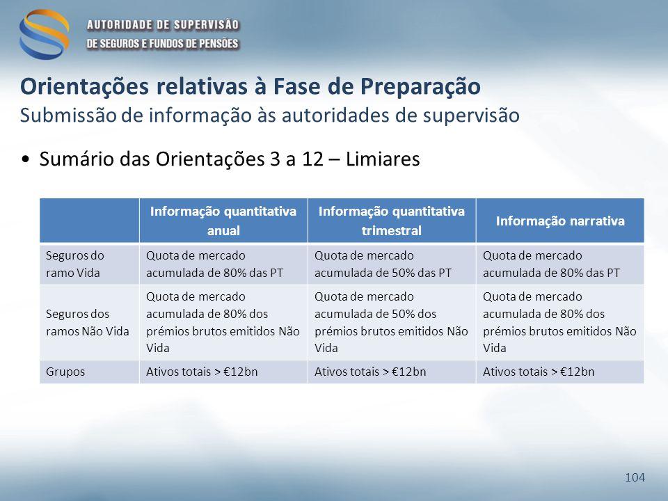 Orientações relativas à Fase de Preparação Submissão de informação às autoridades de supervisão Sumário das Orientações 3 a 12 – Limiares 104 Informaç