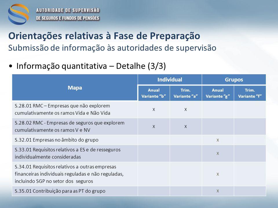 Orientações relativas à Fase de Preparação Submissão de informação às autoridades de supervisão Informação quantitativa – Detalhe (3/3) Mapa IndividualGrupos Anual Variante b Trim.