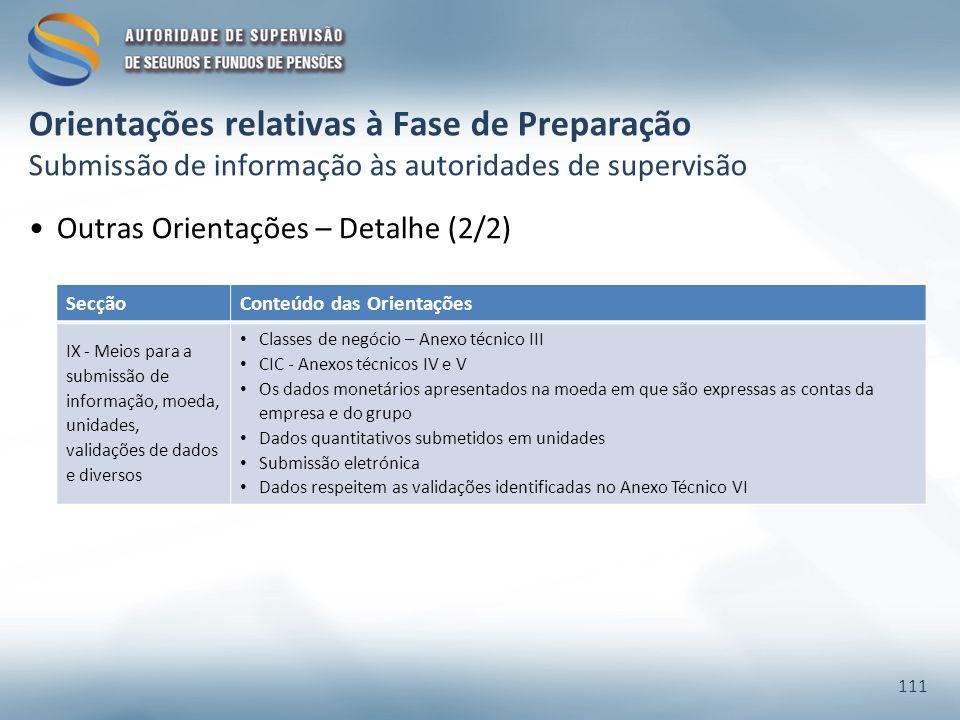 Orientações relativas à Fase de Preparação Submissão de informação às autoridades de supervisão Outras Orientações – Detalhe (2/2) 111 SecçãoConteúdo