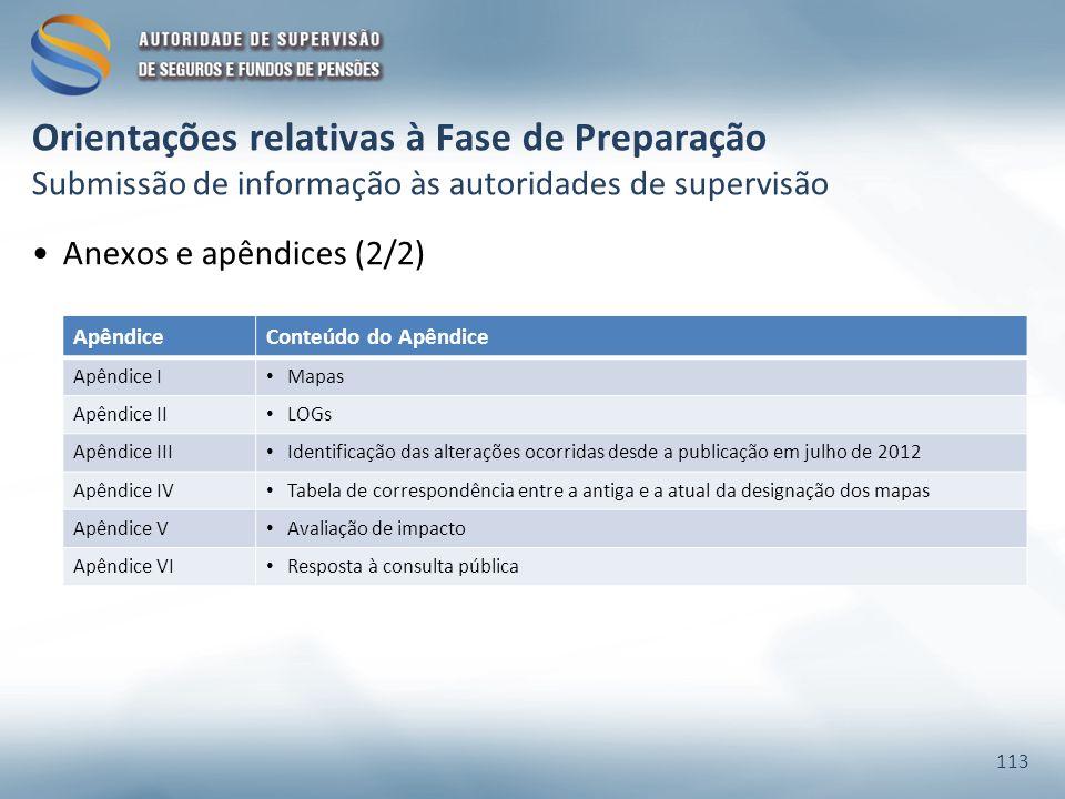 Orientações relativas à Fase de Preparação Submissão de informação às autoridades de supervisão Anexos e apêndices (2/2) 113 ApêndiceConteúdo do Apêndice Apêndice I Mapas Apêndice II LOGs Apêndice III Identificação das alterações ocorridas desde a publicação em julho de 2012 Apêndice IV Tabela de correspondência entre a antiga e a atual da designação dos mapas Apêndice V Avaliação de impacto Apêndice VI Resposta à consulta pública