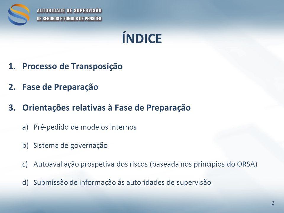 ÍNDICE 1.Processo de Transposição 2.Fase de Preparação 3.Orientações relativas à Fase de Preparação a)Pré-pedido de modelos internos b)Sistema de governação c)Autoavaliação prospetiva dos riscos (baseada nos princípios do ORSA) d)Submissão de informação às autoridades de supervisão 2