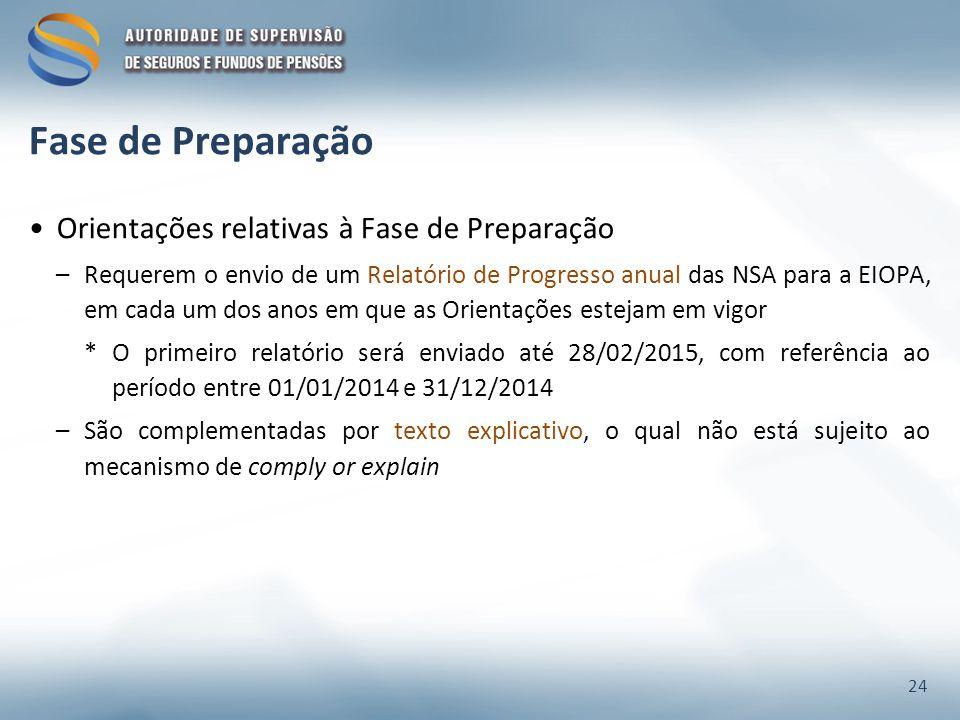 Fase de Preparação Orientações relativas à Fase de Preparação –Requerem o envio de um Relatório de Progresso anual das NSA para a EIOPA, em cada um dos anos em que as Orientações estejam em vigor *O primeiro relatório será enviado até 28/02/2015, com referência ao período entre 01/01/2014 e 31/12/2014 –São complementadas por texto explicativo, o qual não está sujeito ao mecanismo de comply or explain 24