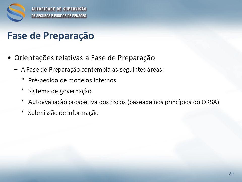 Fase de Preparação Orientações relativas à Fase de Preparação –A Fase de Preparação contempla as seguintes áreas: *Pré-pedido de modelos internos *Sis