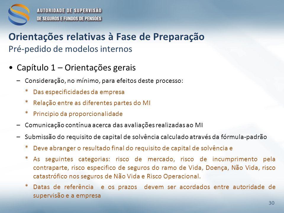 Orientações relativas à Fase de Preparação Pré-pedido de modelos internos Capítulo 1 – Orientações gerais –Consideração, no mínimo, para efeitos deste