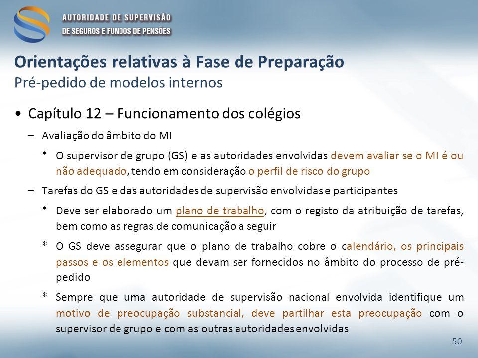 Orientações relativas à Fase de Preparação Pré-pedido de modelos internos Capítulo 12 – Funcionamento dos colégios –Avaliação do âmbito do MI *O super