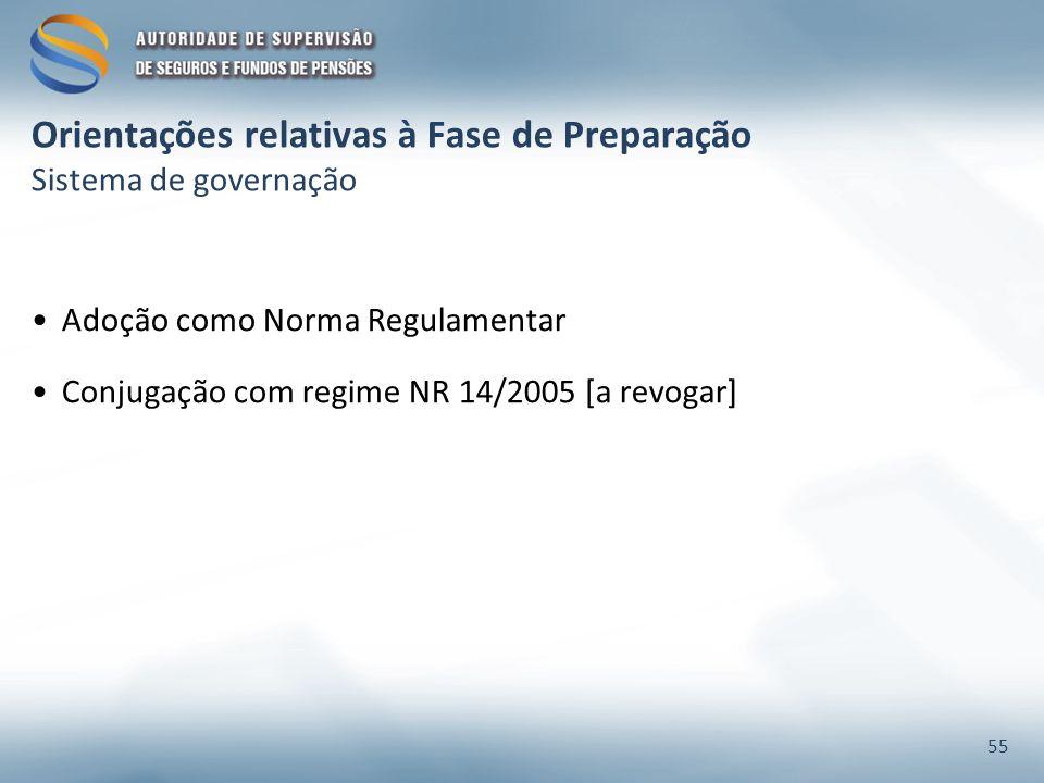 Orientações relativas à Fase de Preparação Sistema de governação Adoção como Norma Regulamentar Conjugação com regime NR 14/2005 [a revogar] 55