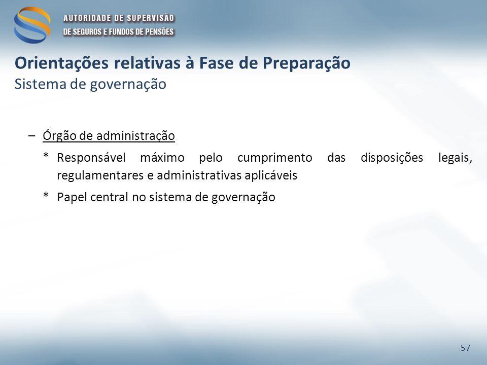 Orientações relativas à Fase de Preparação Sistema de governação –Órgão de administração *Responsável máximo pelo cumprimento das disposições legais,