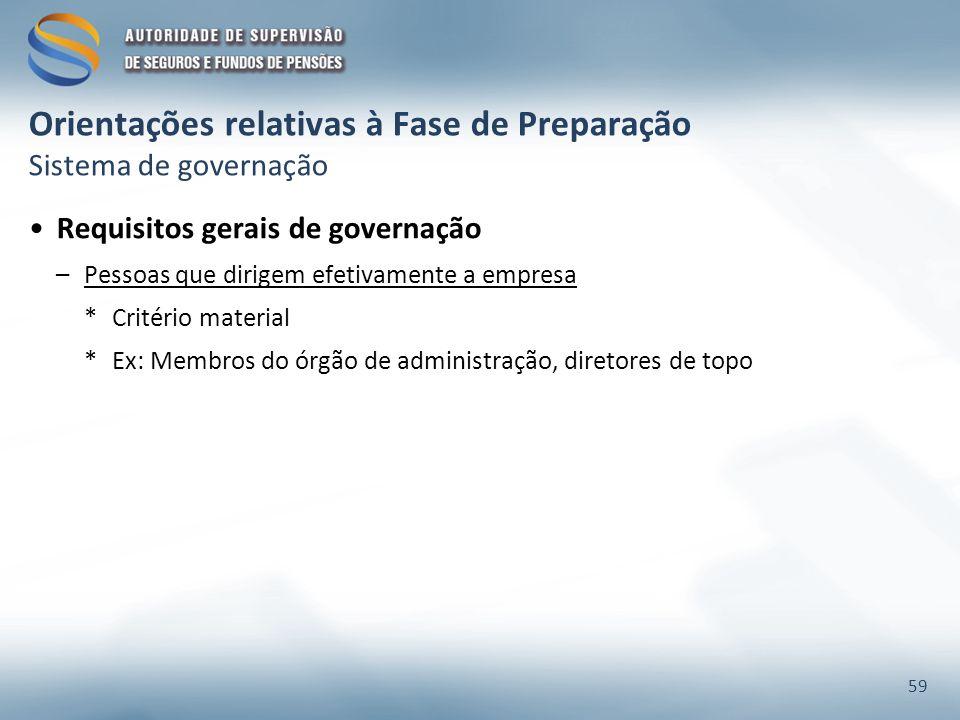 Orientações relativas à Fase de Preparação Sistema de governação Requisitos gerais de governação –Pessoas que dirigem efetivamente a empresa *Critério