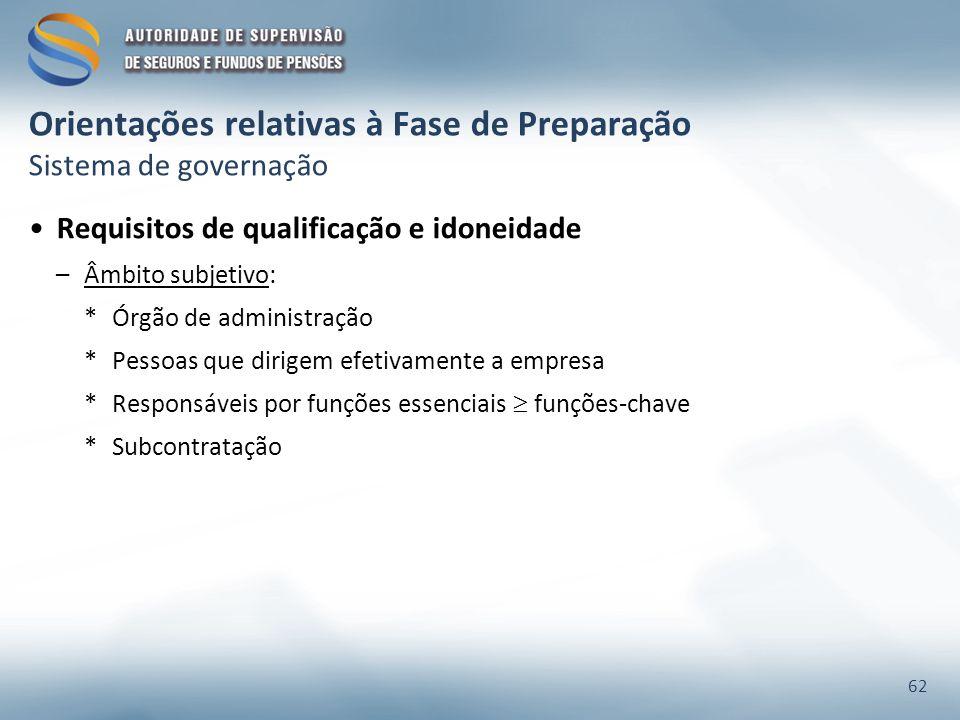 Orientações relativas à Fase de Preparação Sistema de governação Requisitos de qualificação e idoneidade –Âmbito subjetivo: *Órgão de administração *P