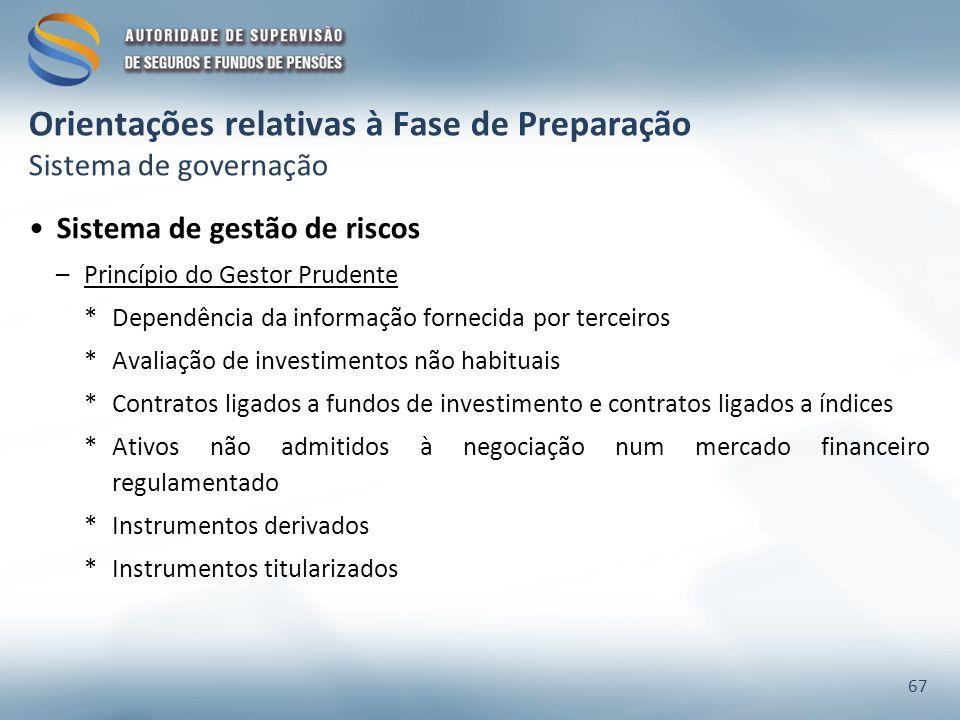 Orientações relativas à Fase de Preparação Sistema de governação Sistema de gestão de riscos –Princípio do Gestor Prudente *Dependência da informação