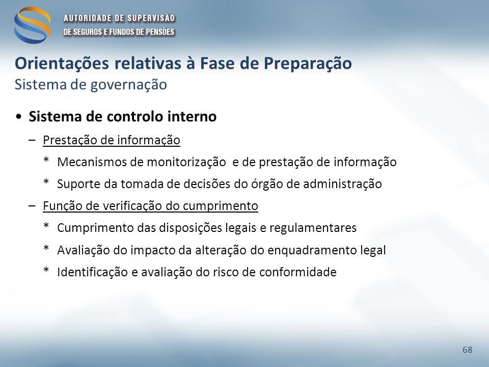 Orientações relativas à Fase de Preparação Sistema de governação Sistema de controlo interno –Prestação de informação *Mecanismos de monitorização e d