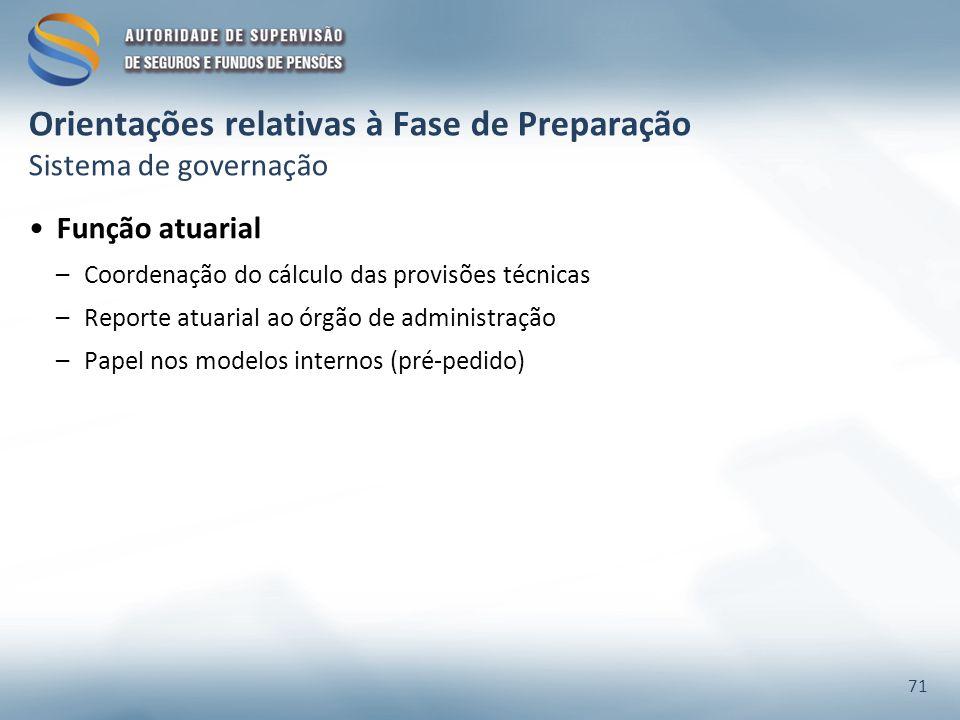 Orientações relativas à Fase de Preparação Sistema de governação Função atuarial –Coordenação do cálculo das provisões técnicas –Reporte atuarial ao órgão de administração –Papel nos modelos internos (pré-pedido) 71