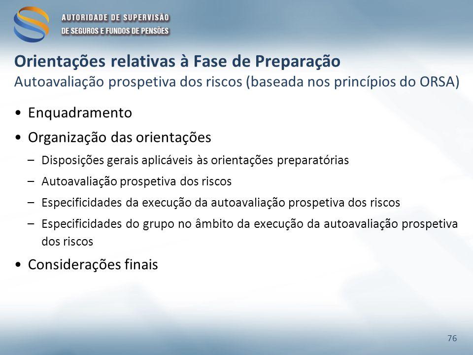 Orientações relativas à Fase de Preparação Autoavaliação prospetiva dos riscos (baseada nos princípios do ORSA) Enquadramento Organização das orientaç