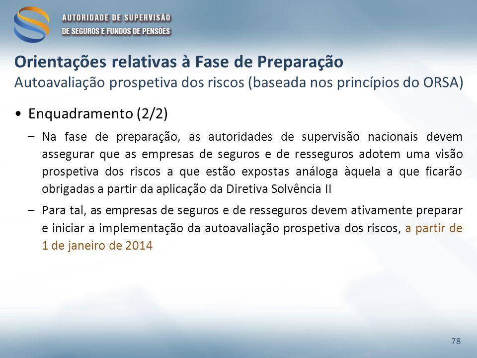 Enquadramento (2/2) –Na fase de preparação, as autoridades de supervisão nacionais devem assegurar que as empresas de seguros e de resseguros adotem u