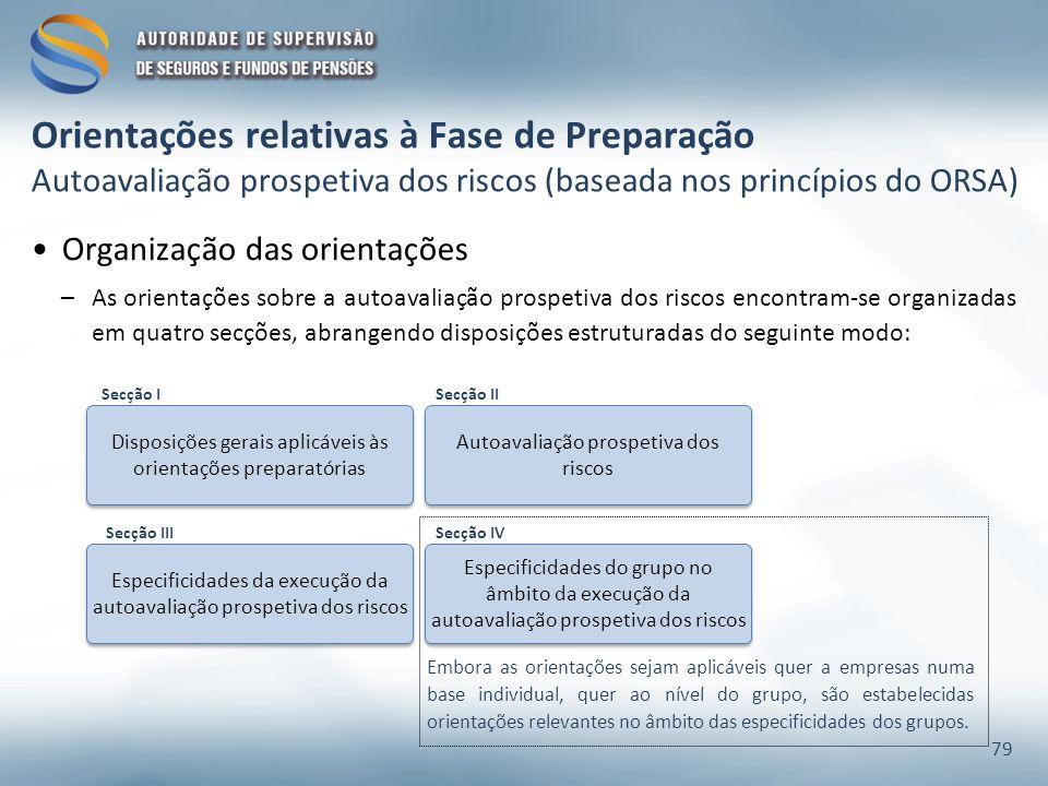 Organização das orientações –As orientações sobre a autoavaliação prospetiva dos riscos encontram-se organizadas em quatro secções, abrangendo disposi