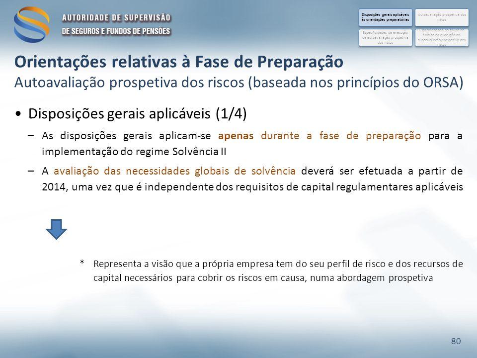 Disposições gerais aplicáveis (1/4) –As disposições gerais aplicam-se apenas durante a fase de preparação para a implementação do regime Solvência II –A avaliação das necessidades globais de solvência deverá ser efetuada a partir de 2014, uma vez que é independente dos requisitos de capital regulamentares aplicáveis 80 Disposições gerais aplicáveis às orientações preparatórias Especificidades do grupo no âmbito da execução da autoavaliação prospetiva dos riscos Autoavaliação prospetiva dos riscos Especificidades da execução da autoavaliação prospetiva dos riscos *Representa a visão que a própria empresa tem do seu perfil de risco e dos recursos de capital necessários para cobrir os riscos em causa, numa abordagem prospetiva Orientações relativas à Fase de Preparação Autoavaliação prospetiva dos riscos (baseada nos princípios do ORSA)
