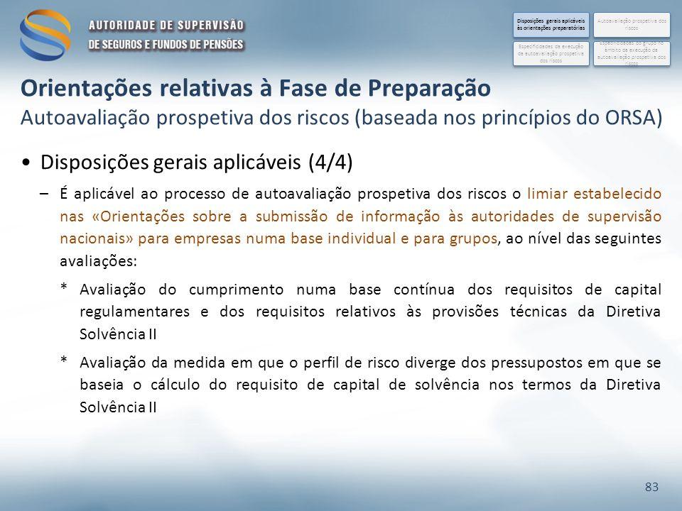 Disposições gerais aplicáveis (4/4) –É aplicável ao processo de autoavaliação prospetiva dos riscos o limiar estabelecido nas «Orientações sobre a sub