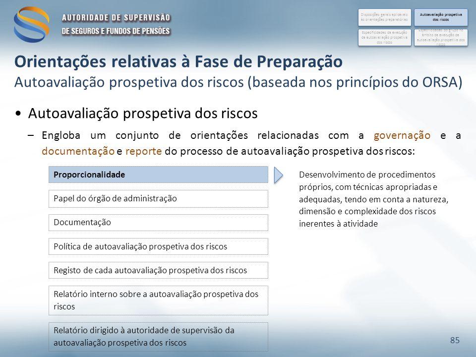 Autoavaliação prospetiva dos riscos –Engloba um conjunto de orientações relacionadas com a governação e a documentação e reporte do processo de autoav