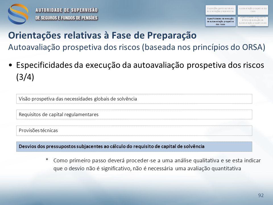 Especificidades da execução da autoavaliação prospetiva dos riscos (3/4) 92 Requisitos de capital regulamentares Provisões técnicas Desvios dos pressu
